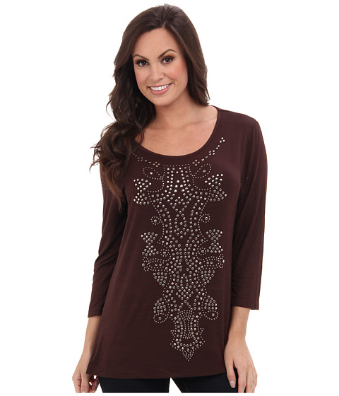 Scully - Serena 3/4 Sleeve Top (Chocolate) Women's T Shirt