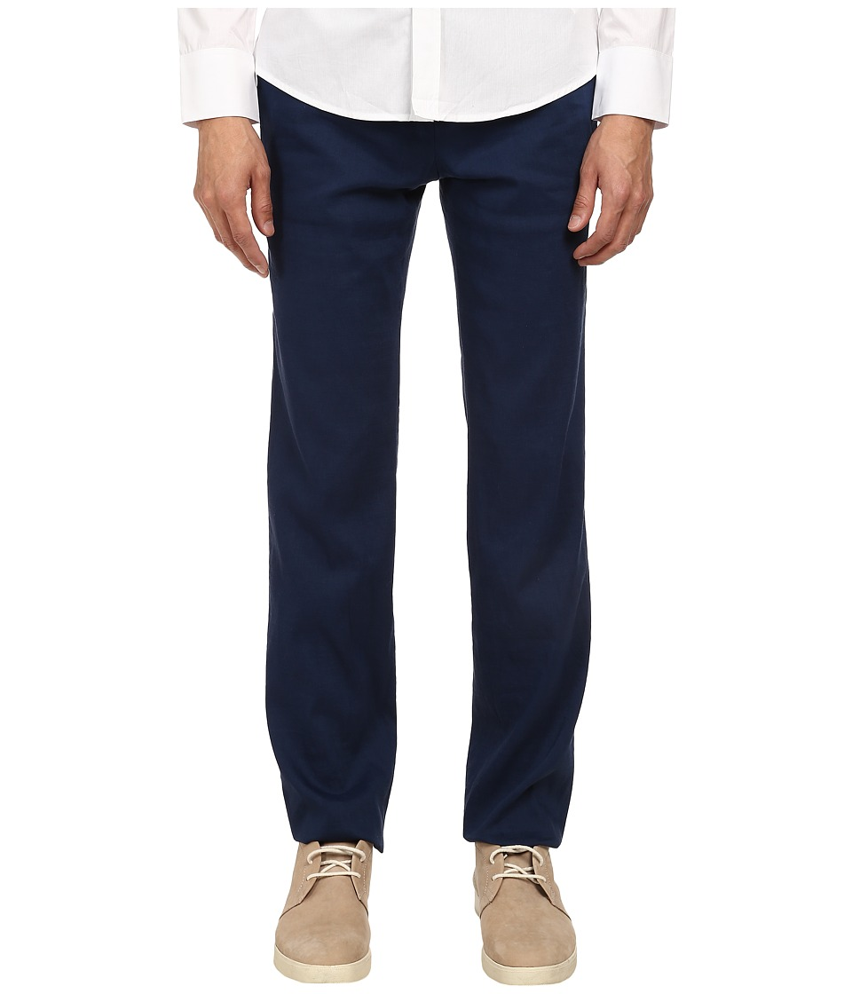 Image of Bikkembergs - Linen Trouser Pant (Blue) Men's Casual Pants