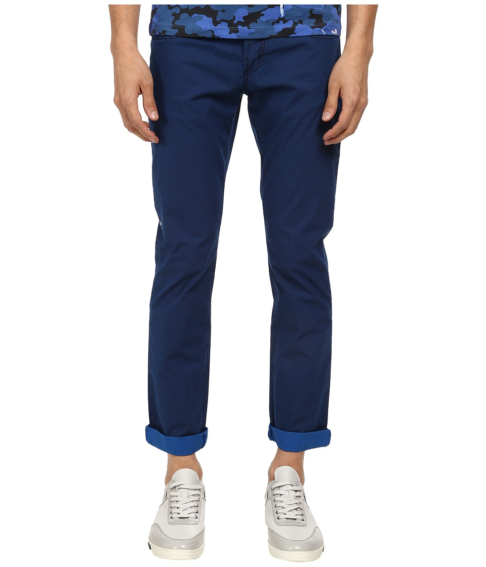 Bikkembergs - Garment Dyed Five-Pocket Pant (Blue) Men's Casual Pants