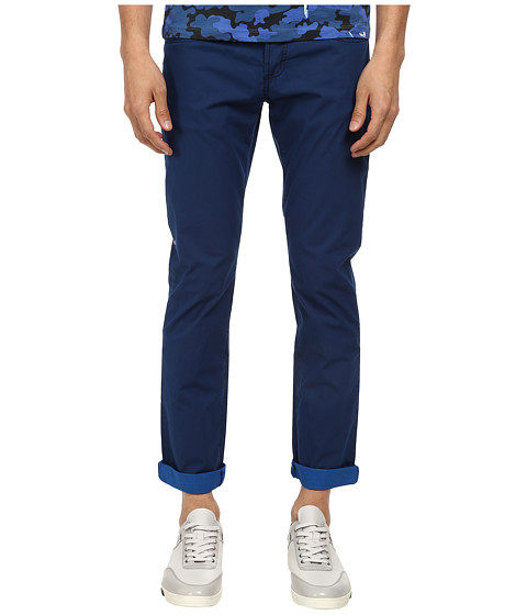Bikkembergs - Garment Dyed Five-Pocket Pant (Blue) Men