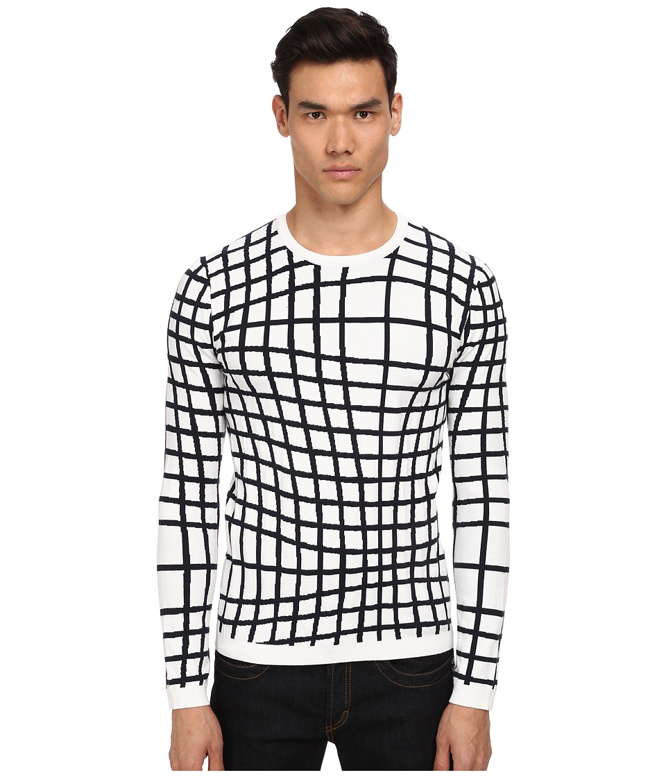 Bikkembergs - Graphic Lines Sweater (White/Black) Men's Sweater