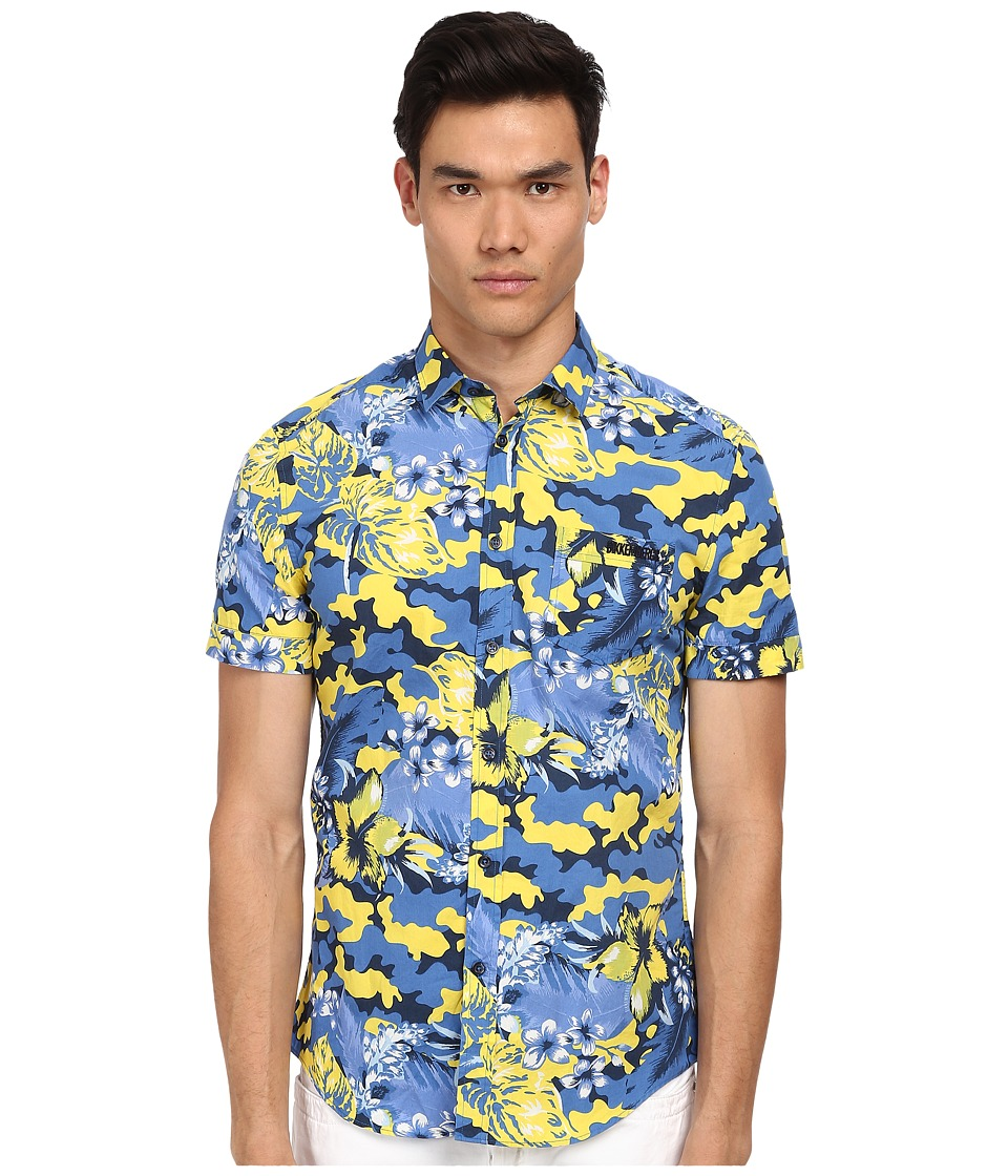 Bikkembergs - Camofloral Button Up (Yellow) Men's Clothing