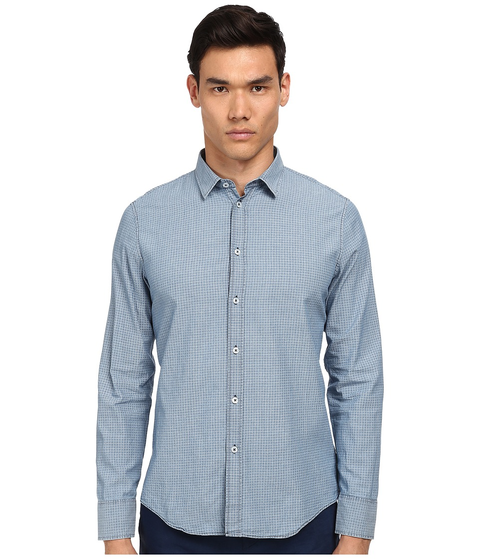 Bikkembergs - Checked L/S Button Up (Denim) Men's Long Sleeve Button Up
