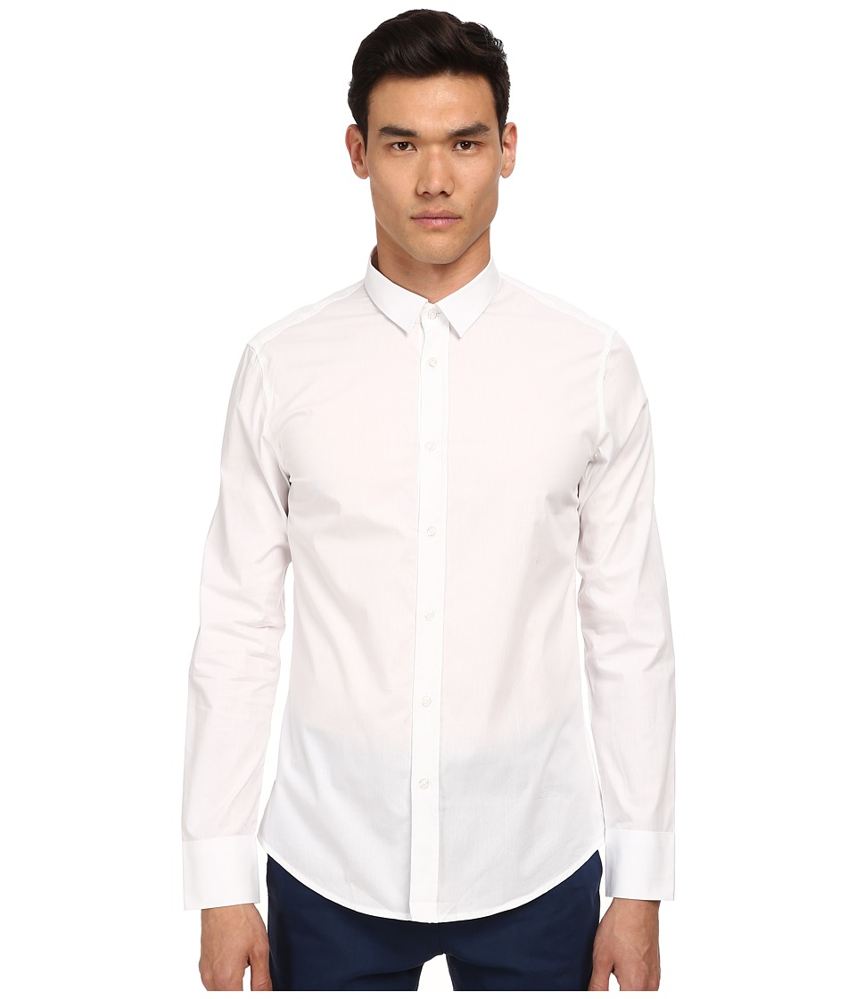 Bikkembergs - Graphic Lines Button Up (White) Men's Clothing