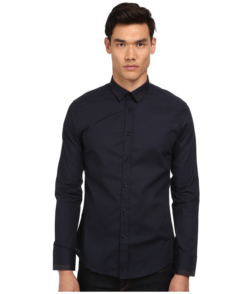 Bikkembergs - L/S Stripe Contrast Button Up (Navy) Men's Long Sleeve Button Up