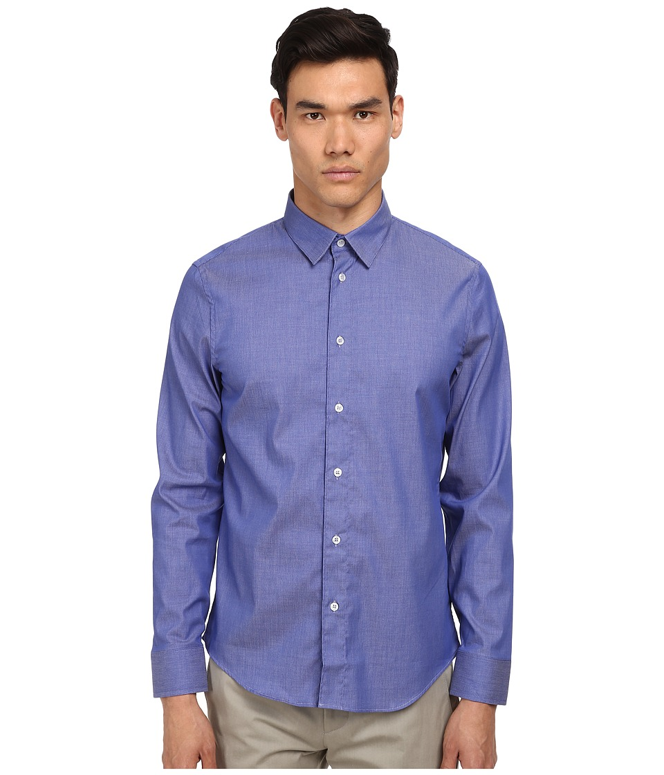 Bikkembergs - L/S Chambray Button Up (Blue) Men's Long Sleeve Button Up
