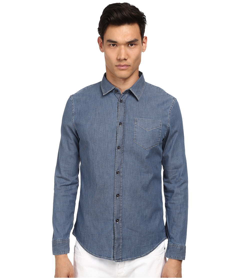 Bikkembergs - Chambray L/S Button Up (Denim) Men's Long Sleeve Button Up
