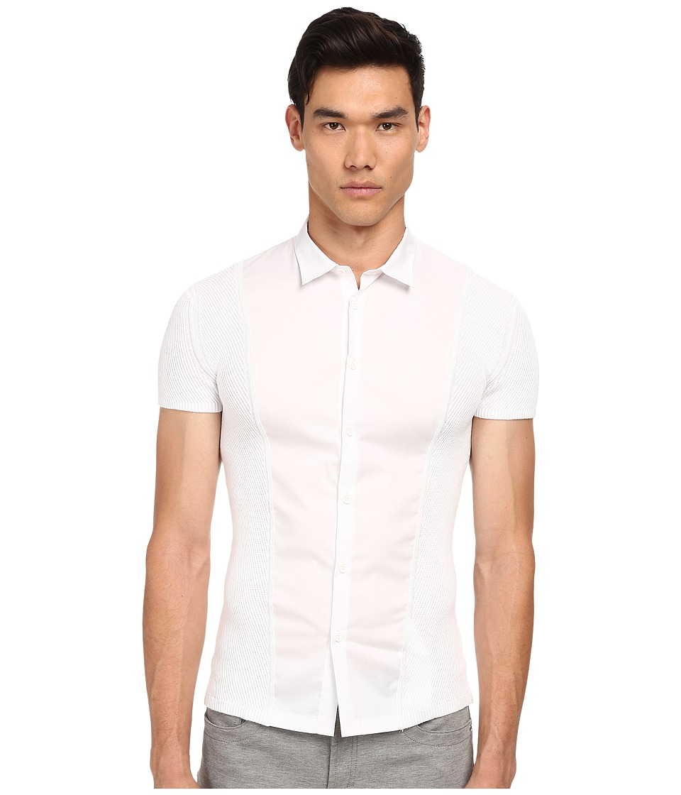Image of Bikkembergs - Knit/Woven S/S Button Up (White) Men's Short Sleeve Button Up