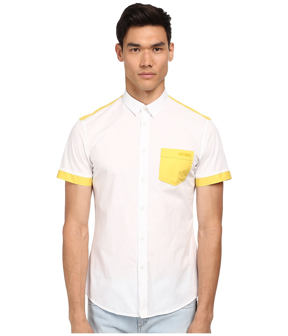 Bikkembergs - S/S Color Block Button Up (White/Yellow) Men's Short Sleeve Button Up