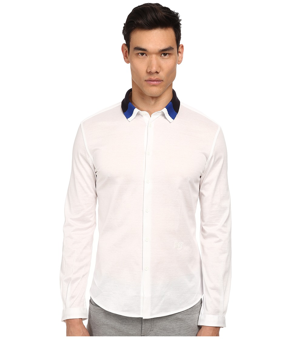 Image of Bikkembergs - Knit Collar Woven Button Up (White) Men's Clothing