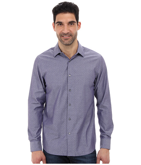 Perry Ellis - Long Sleeve Slim Fit Jacquard Shirt (Dark Brown) Men