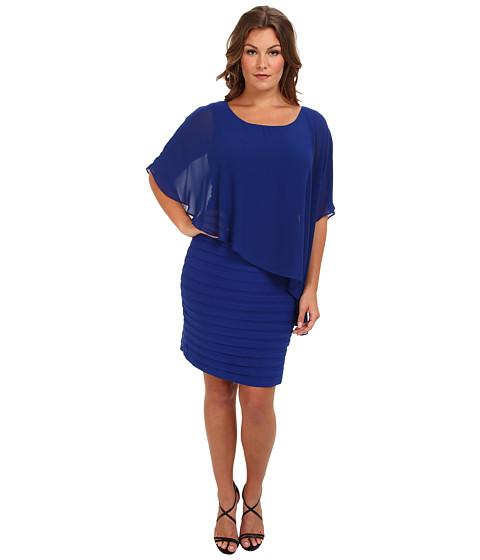 Adrianna Papell Plus Size Chiffon Drape Overlay w/ Banding (Sapphire