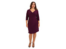 Adrianna Papell Plus Size Strapping and Banding Sheath (Plum)