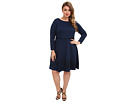 Plus Size Soutache Circle Skirt Knit Dress