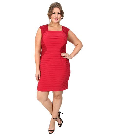 Adrianna Papell - Plus Size Lace Blocked Banded Sheath (Flare Red) Women's Dress