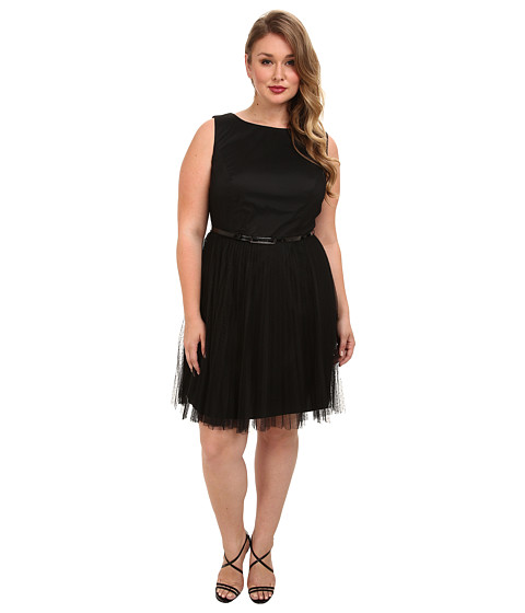 Adrianna Papell - Plus Size Net Tulle w/ Dots Fit Flare (Black) Women's Dress