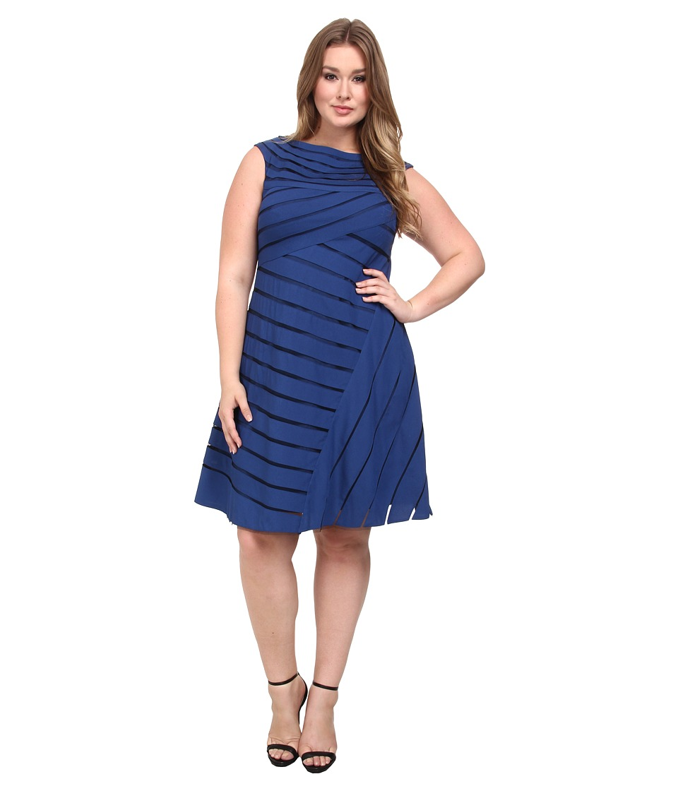 Adrianna Papell - Plus Size Directional Spliced Net Dress (Nile) Women's Dress