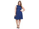 Plus Size Directional Spliced Net Dress