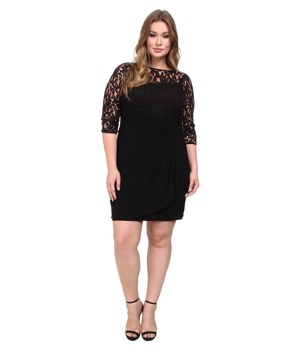 Adrianna Papell - Plus Size Rose Flounce Dress w/ Lace Combo (Black) Women