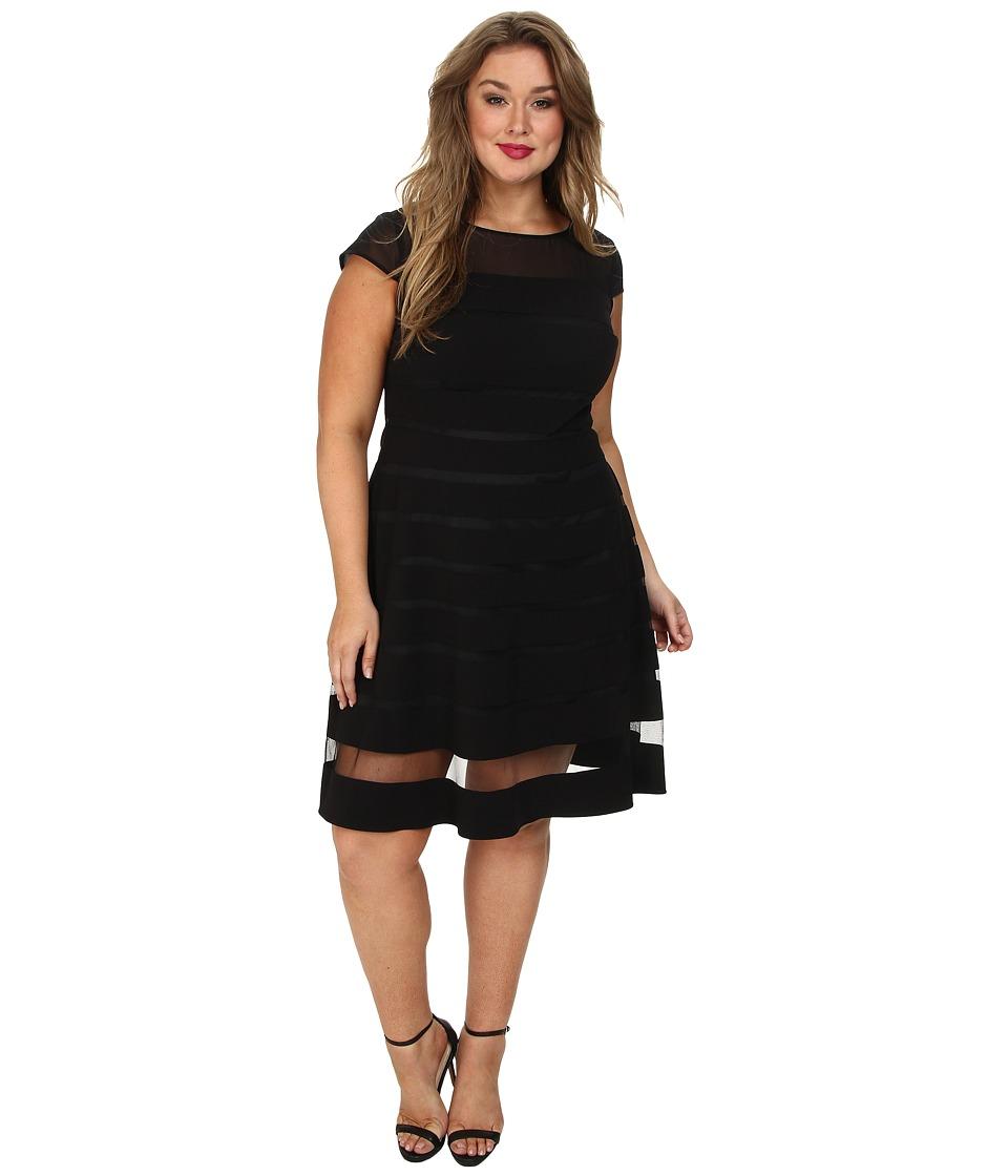 Adrianna Papell Plus Size Gradiated Chiffon Bands Dress (Black) Women