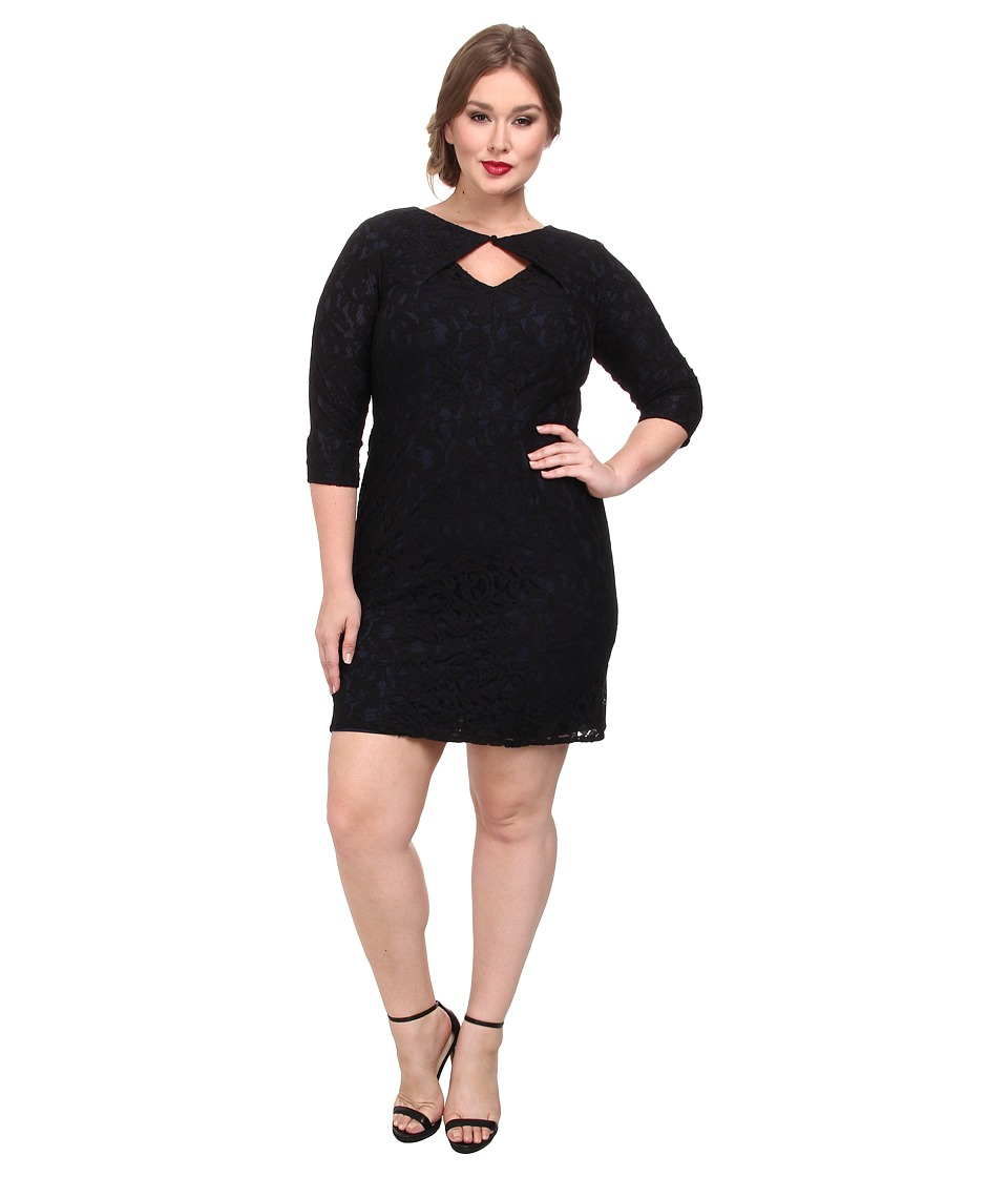 Adrianna Papell - Plus Size Lace Origami Neckline Dress (Black) Women's Dress
