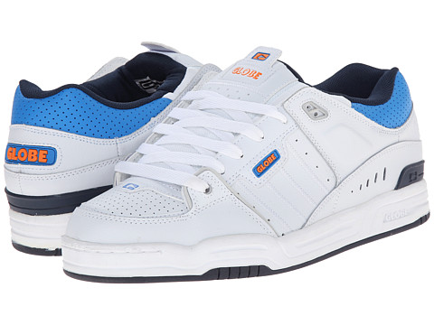 Globe - Fusion (White/Blue/Orange) Men's Skate Shoes