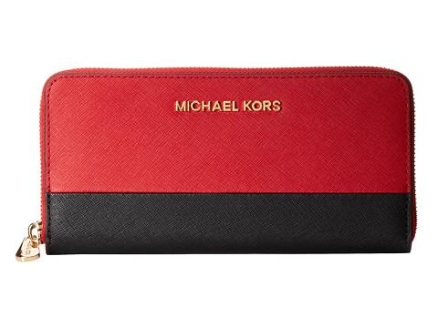 MICHAEL Michael Kors Jet Set Travel ZA Continental (Red/Black) Wallet Handbags