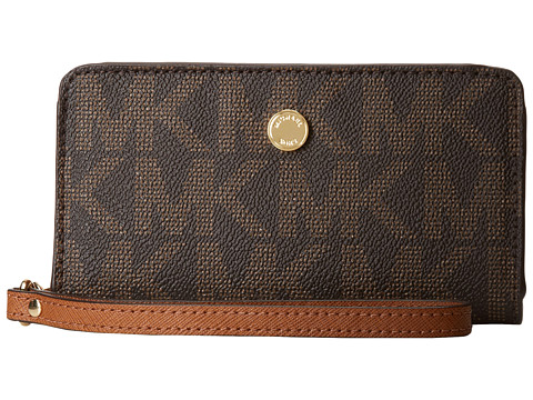 MICHAEL Michael Kors - Jet Set Travel Slim Tech Wristlet (Brown/Luggage) Clutch Handbags