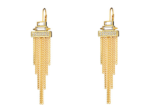 Vince Camuto - Stone Fringe Lever Back Earring (Gold/Crystal) Earring