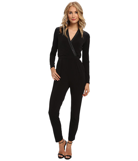Vince Camuto - Jersey Wrap Front Slim Leg Jumpsuit w/ Pleather Detail (Black) Women