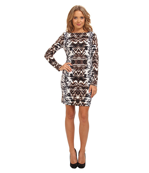 Vince Camuto - 3/4 Sleeve Printed Ponte T-Body Dress (Print) Women's Dress