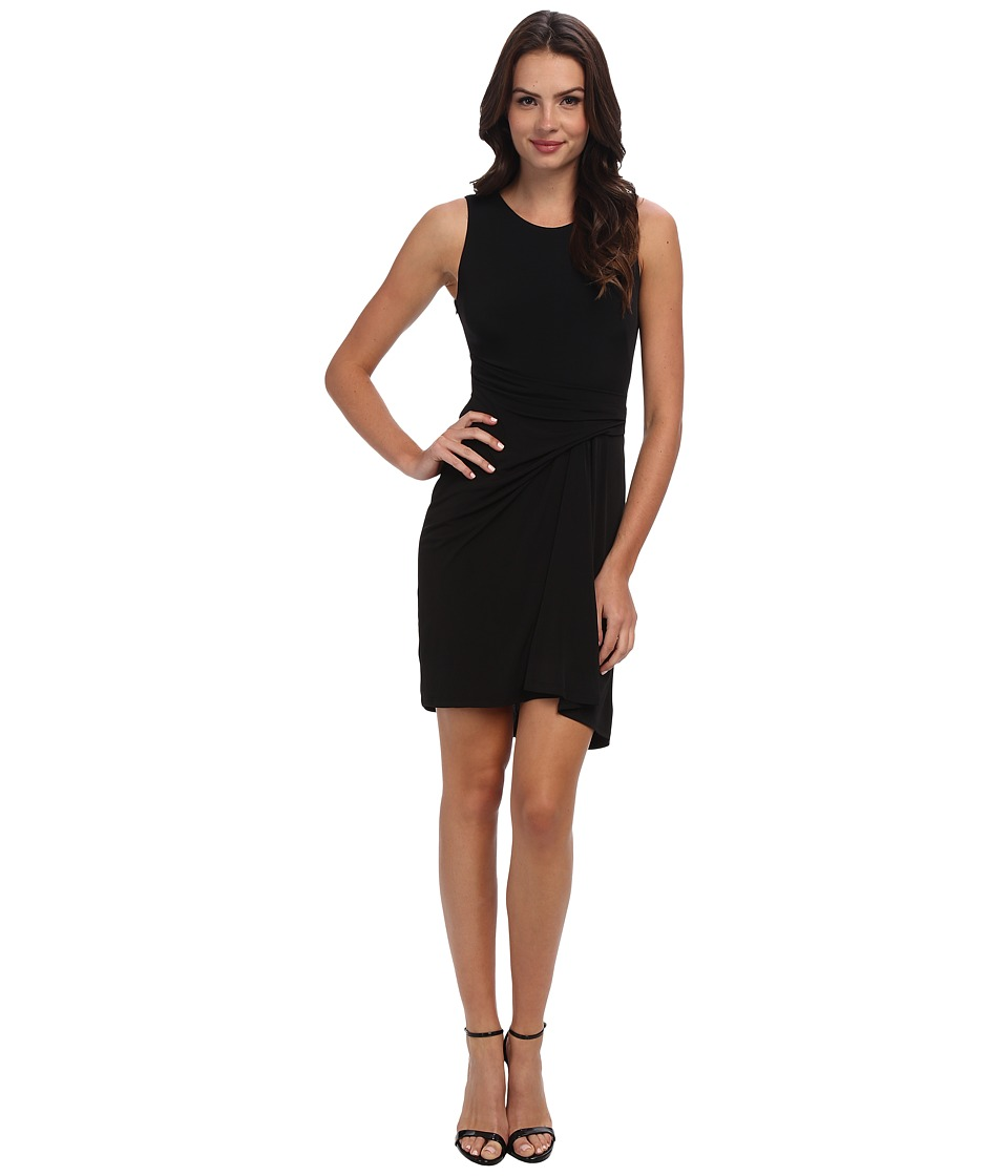 Vince Camuto - Sleeveless Fitted Bodice with Draped Asymmetric Skirt Dress (Black) Women