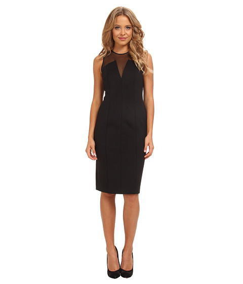 Vince Camuto - V-Neck Scuba Body Con Dress w/ Mesh Illusion (Black) Women's Dress