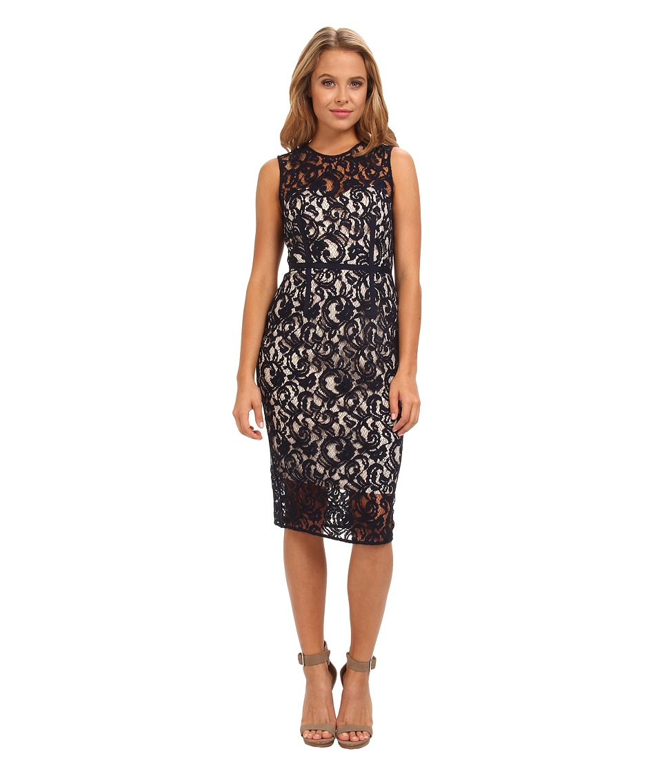 Vince Camuto - Sleeveless Illusion Top and Hem Dress with Grosgrain Detail (Navy) Women's Dress