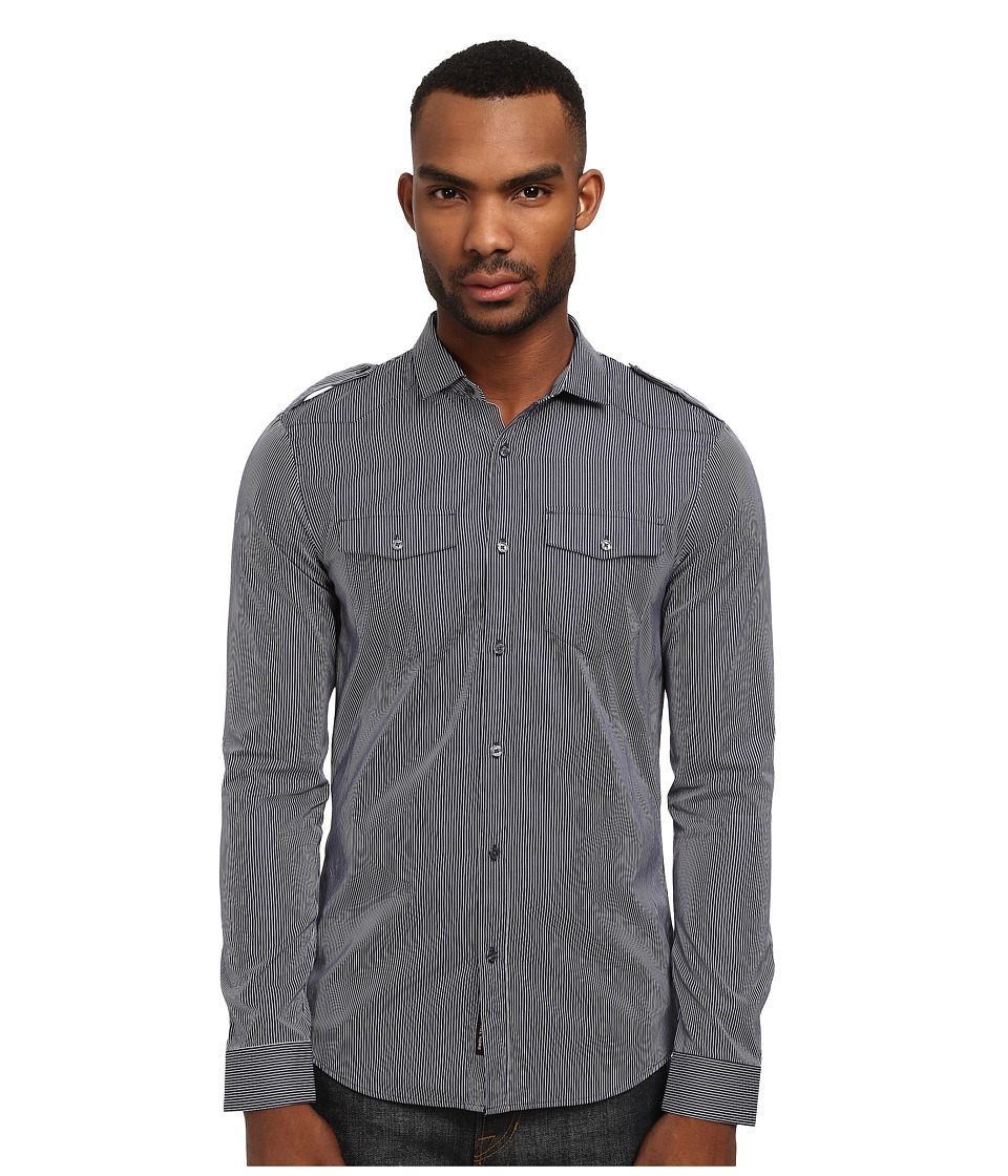 Michael Kors - Bond Stripe Slim Two-Pocket Shirt (Navy) Men's Long Sleeve Button Up