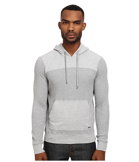 Michael Kors - Fleece Waffle Hoodie (Heather Grey) Men