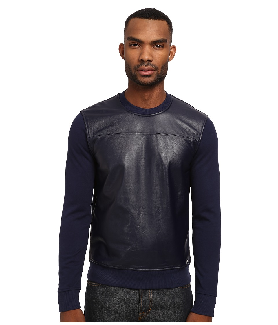 Michael Kors - Leather Front Crew Sweatshirt (Indigo) Men's Sweatshirt