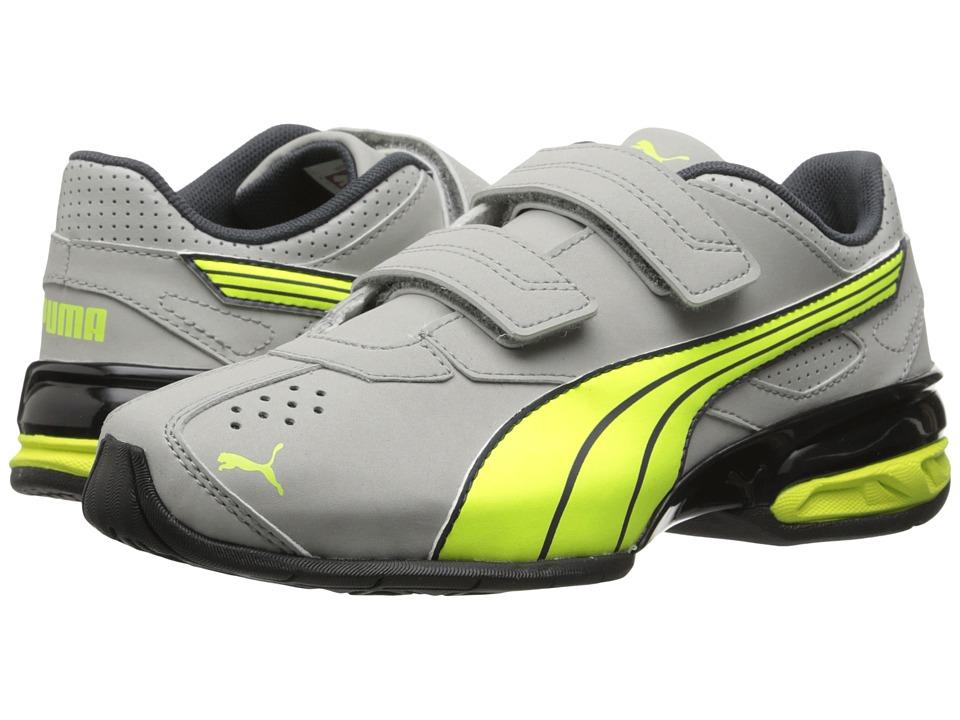 Puma Kids - Tazon 5 NM V (Toddler/Little Kid/Big Kid) (Limestone Grey/Fluorescent Yellow/Turbulence) Boys Shoes