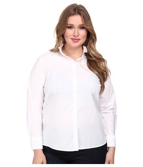 Pendleton - Plus Size Good Cheer Shirt (White) Women's Long Sleeve Button Up