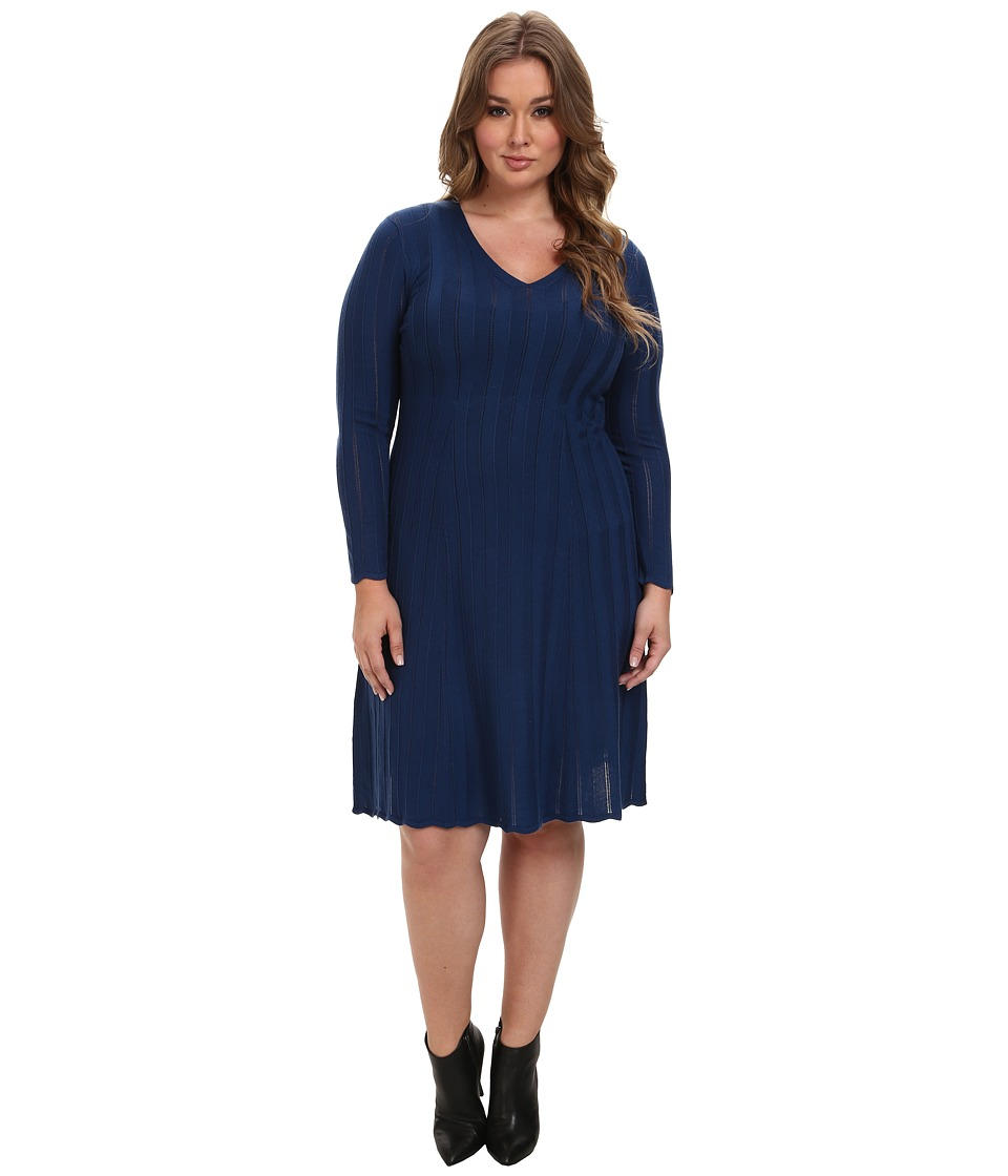 Pendleton - Plus Size Black Magic Merino Wool Dress (Blue) Women's Dress