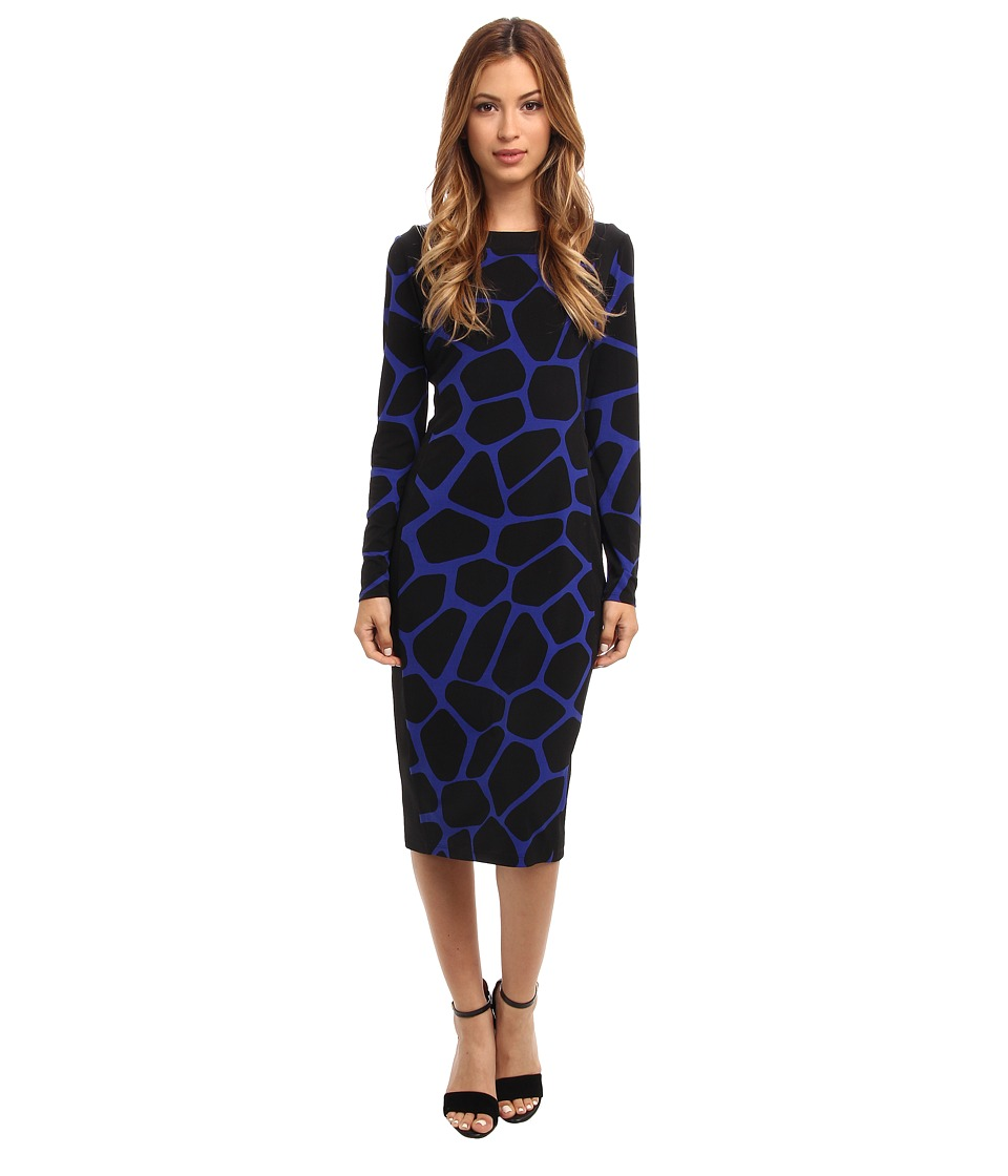 Maggy London - Printed Giraffe Fabric Mix L/S Dress (Seawave/Black) Women's Dress