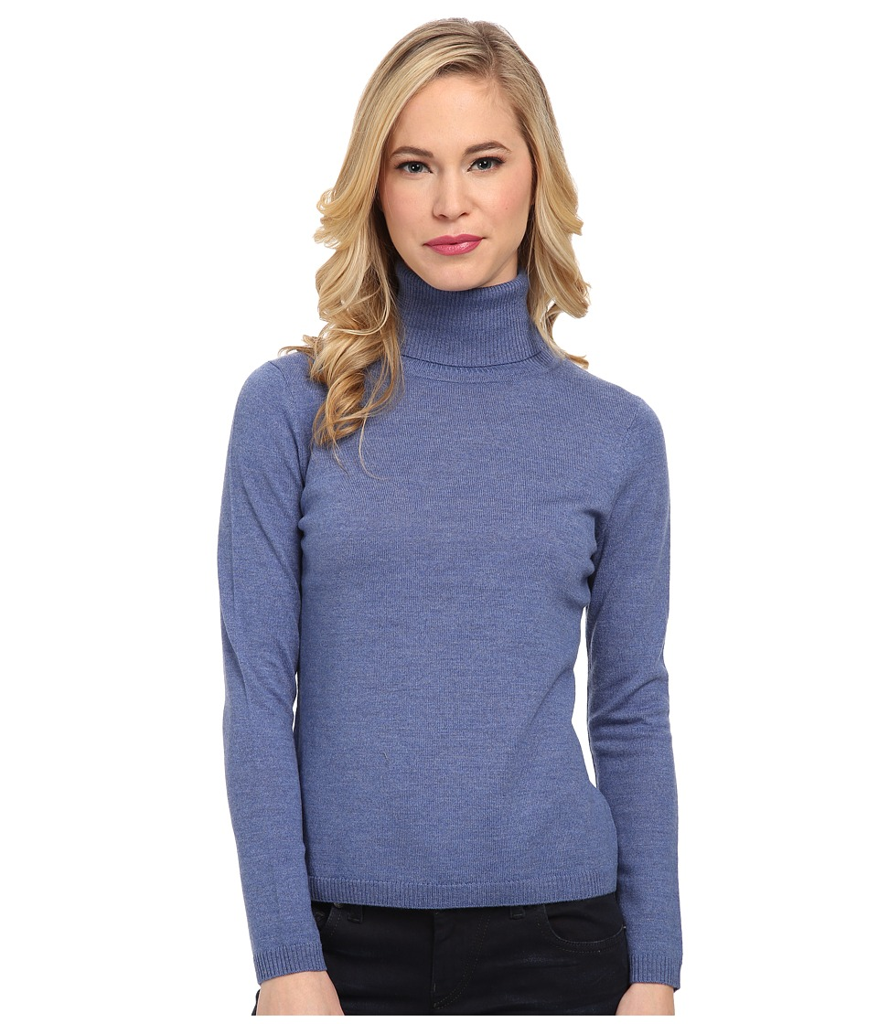 Pendleton - Petite Classic Turtleneck Sweater (Dutch Blue Heather) Women's Long Sleeve Pullover