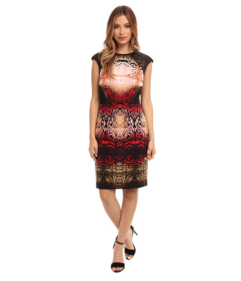 Maggy London - Printed Cap Sleeve Ombre Dress (Copper/Red) Women