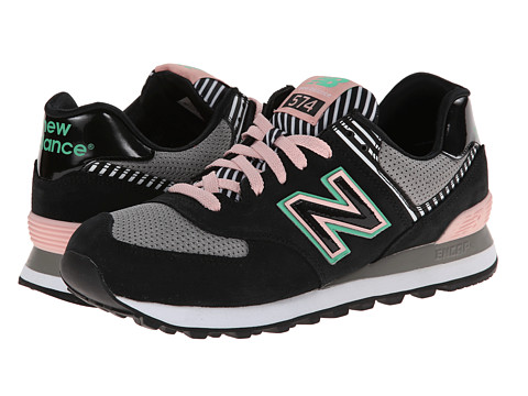 New Balance Classics - WL574 (Palm Springs - Black/Pink) Women's Lace up casual Shoes