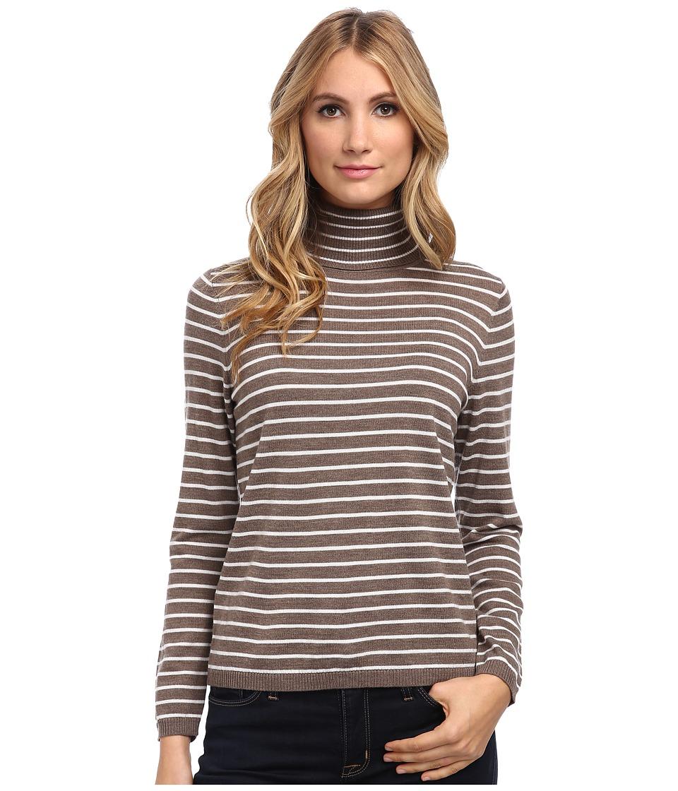 Pendleton - Classic Stripe Turtleneck (Soft Brown Heather/Ivory) Women's Long Sleeve Pullover