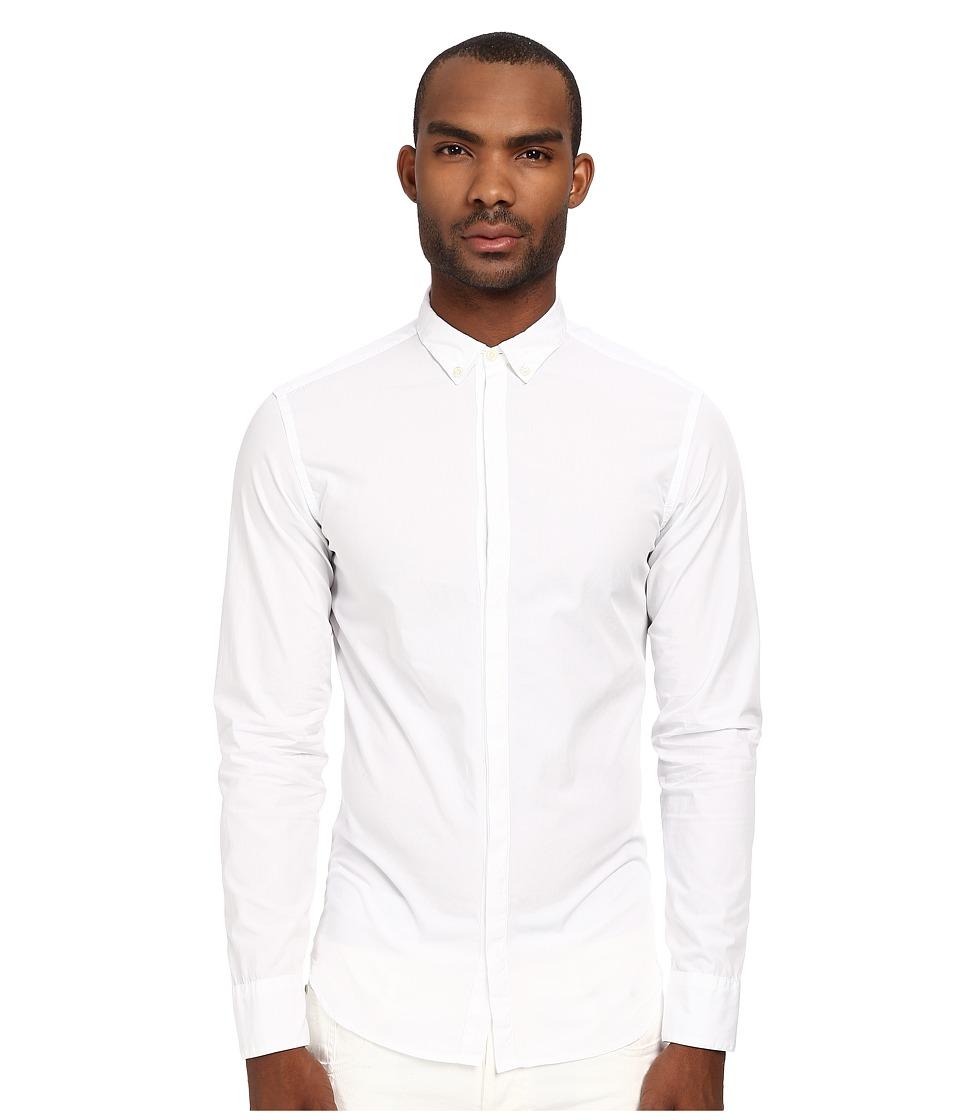 Pierre Balmain - Hidden Placket Button Up (White) Men's Long Sleeve Button Up