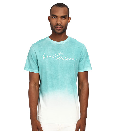 Pierre Balmain - Watercolor Ombre Logo Tee (White/Green) Men's T Shirt