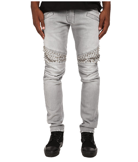 Pierre Balmain - Spiked Panel Motor Denim (Grey) Men