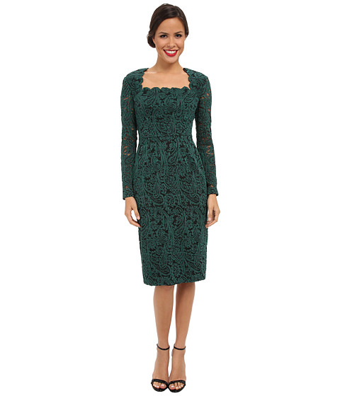 Maggy London - L/S Textured Paisley Lace Sweetheart Neck Sheath (Green/Black) Women's Dress