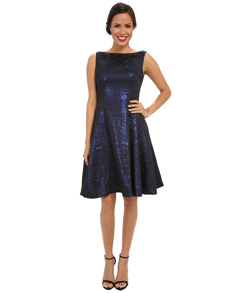 Maggy London - Sleeveless Beaded Yoke Metallic Brocade Fit Flare Dress (Blue/Black) Women's Dress